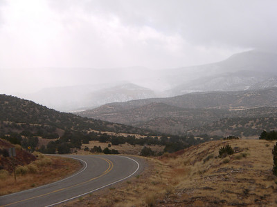 Driving in the snow from Abiquiu, NM to Aztec, NM 2010, Nov.
