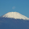 The moon at the peak of Mt. Fuji