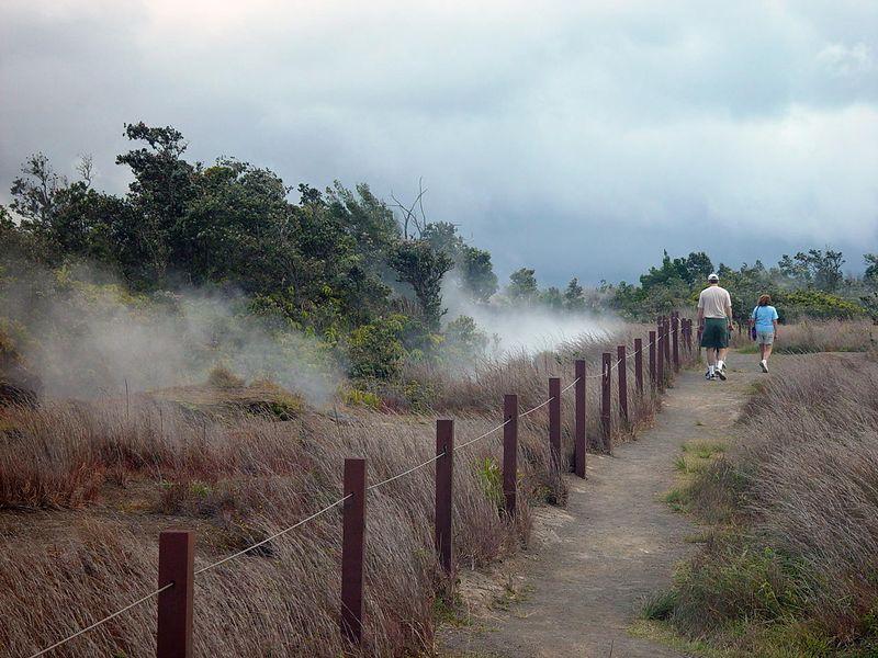 Fumerals or steam vents dot the landscape near the caldera.