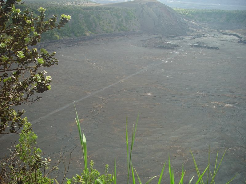 That line is the trail you can follow if you are inclined to walk across the surface of the solid lava lake.