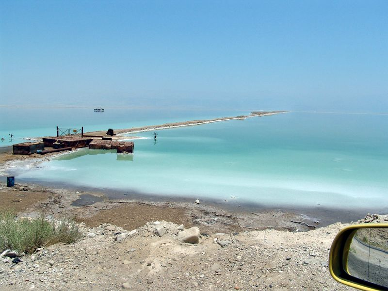 Looking out of the Dead Sea from Israel. The mountains of Jorden are barely visable in the distance