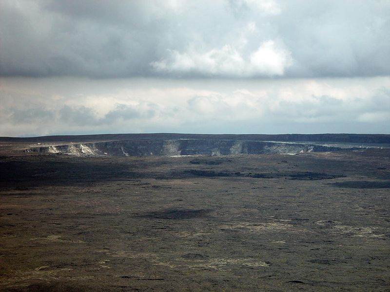 A view of the main caldera again featuring Halema`uma`u (Fire Pit) where Pele made her last appearence in September 1974.