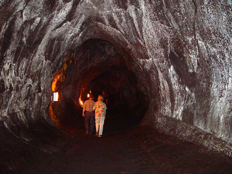 Inside of Thurston's Lava Tube, the largest lava tube found to date on Kilauea.