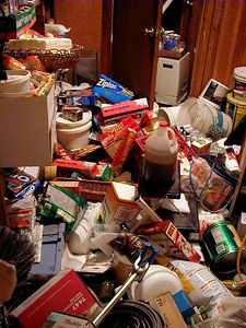 The same neighbor's pantry, in more than a little disarray.