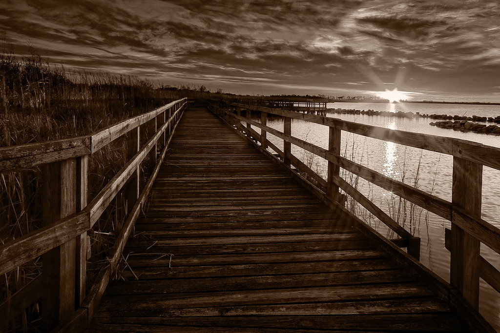 Boardwalk Sunset II in sepia, Back Bay Nat'l Wildlife Refuge, VA