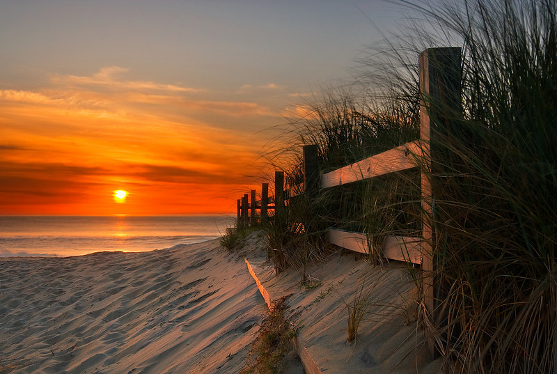 """Sandbridge Beach Sunrise.  This photo was published in the January 2008 issue of 'Digital Camera' magazine as """"Shot of the Month""""."""