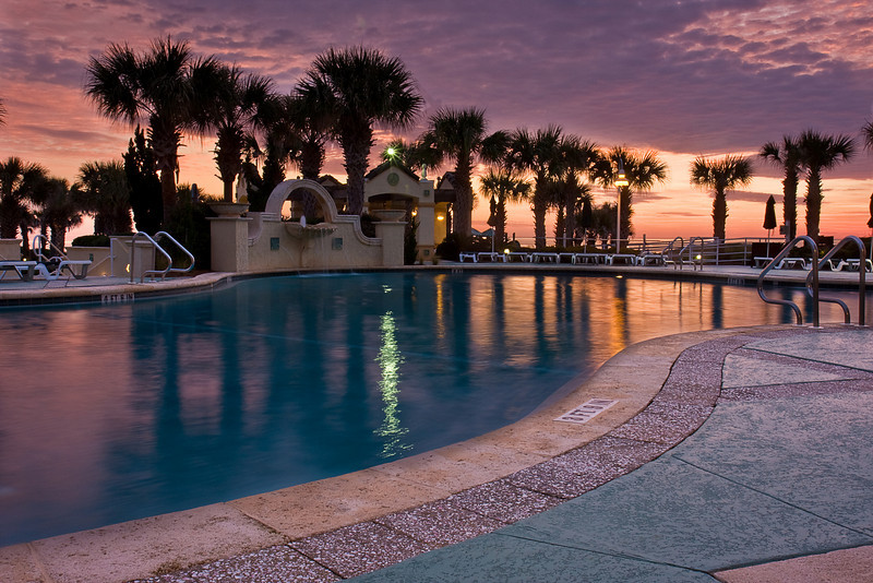 Amelia Island Inn Pool at Sunrise, Florida.