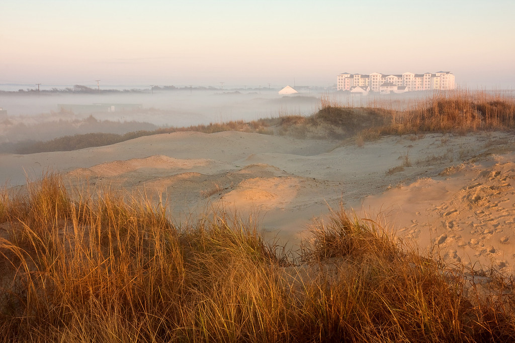 Sandbridge Beach Condos with Morning Fog