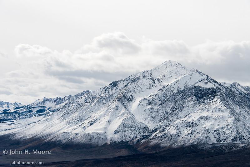 A snowy mountian in the Eastern Sierra as a winter storm clears
