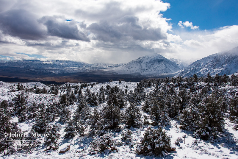 The Eastern Sierra near Bishop, California, during a clearing winter storm