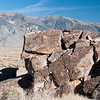 Native American petroglyphs on the Volcanic Tablelands north of Bishop, California, USA.