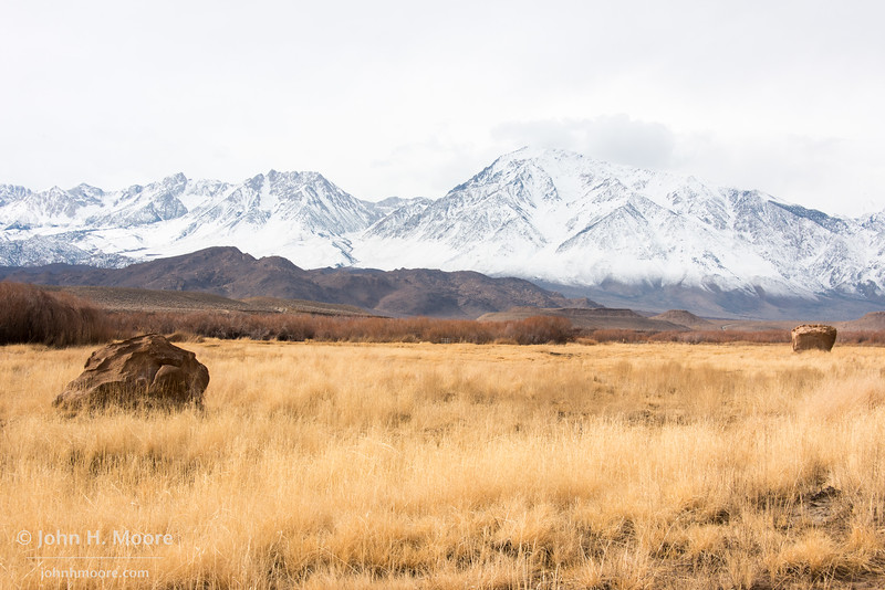 Boulders in a field outside of Bishop, California, in winter