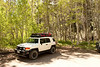 The FJ parked at Sherwin Creek.  <br />  37.629320°,-118.938806°