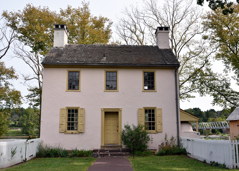 PA-WC23-2020.9.15#0687.1. The front of the Hibbs house. Washington Crossing Historic Park. Bucks County Pennslyvania.