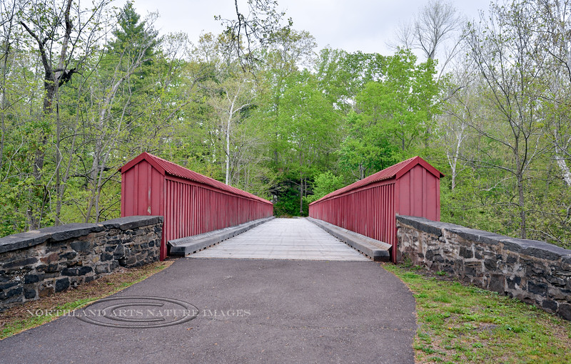 PA-RSP-2016.5.15#103.2. Mean's Ford bridge that spans the Tohickon Creek is the longest of seven surviving boxed pony bridges in the east. Built in  the 1860's. Part of Ralph Stover  State Park. Bucks County Pennsylvania.
