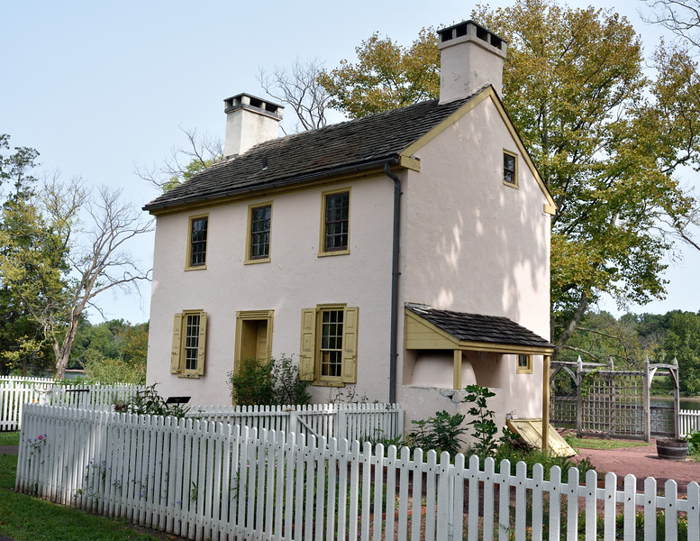 PA-WC25-2020.9.15#0744.1. A view from the south side of the Hibbs house. Washington Crossing Historic Park. Bucks County Pennsylvania.