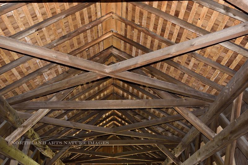 PA-CBCR5-2020.9.14#0280.1x. Interior construction in the Cabin Run Covered Bridge. Bucks County, Pennsylvania.