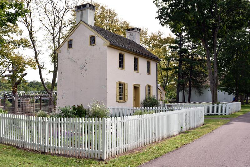 PA-WC22-2020.9.15#0686#1. A view of the Hibbs house  looking south. Washington Crossing Historic Park. Bucks County Pennsylvania.