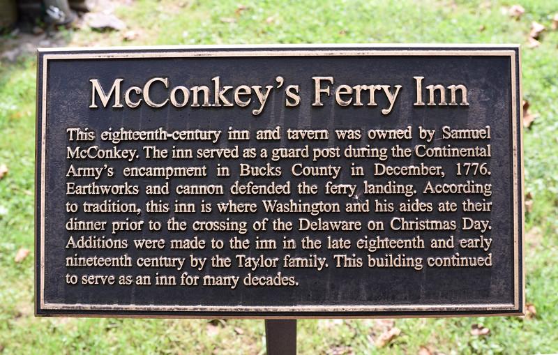 PA-WC34-2020.9.15#0717.1. McConkey's Ferry Inn sign. Washington Crossing Historic Park. Bucks County Pennsylvania.
