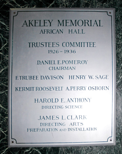 NY-AMNH-2006.4.14#0179.2. The Carl Akeley Memorial Plaque in the African Hall at the American Museum of Natural History in New York, NY.