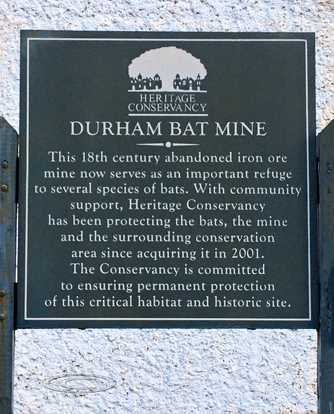 PA-D-2021.1.22#5412.2. Interpretive sign for the Heritage Conservancy Durham Bat Mine. Historic Durham Township, Bucks County Pennsylvania.