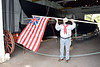 PA-WC29-2020.9.15#0707.1. A reproduction of the US flag of the Revolution. Boat barn at Washington Crossing Historic Park. Bucks County Pennsylvania.