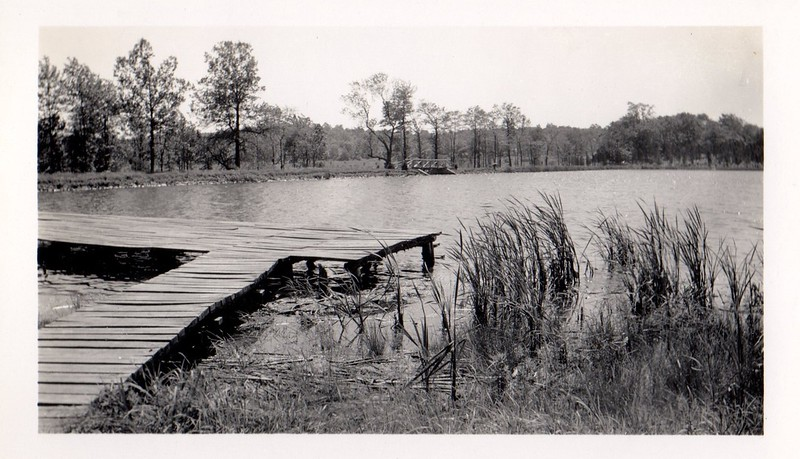 PA-1950's#363. The dock in the foreground looking to the bridge over the spillway that is the beginning of Rapp Creek. Nockamixon Township, Bucks County Pennsylvania. Photo courtesy Neil Jesiolowski Sr.