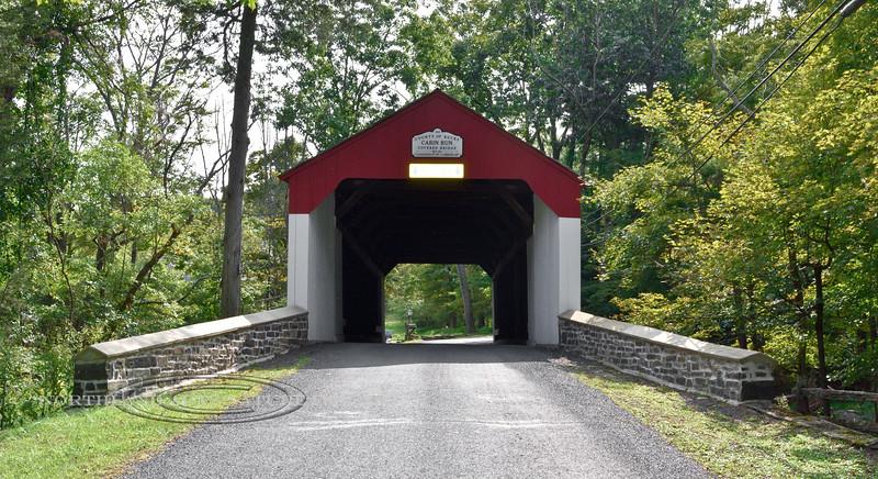 PA-CBCR1-2020.9.14#0266.2. The Cabin Run Covered Bridge built 1871, spanning Cabin Run Creek, Bucks County Pennsylvania.