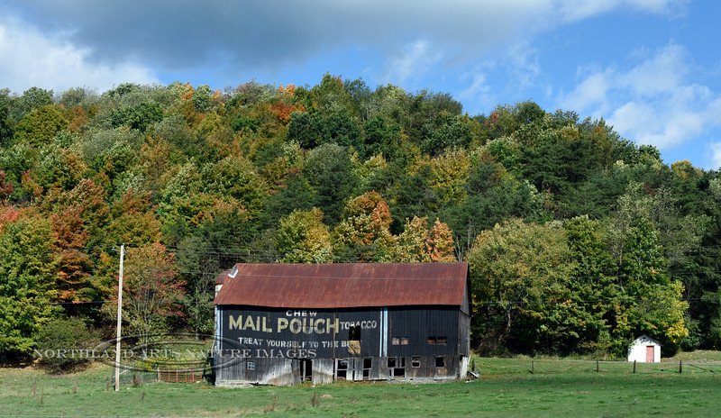 PA-2020.9.30#2610.2. Classic Early American Mail Pouch Chewing Tobacco advertisement on a vintage barn. Allegheny Mountains, western Pennsylvania.