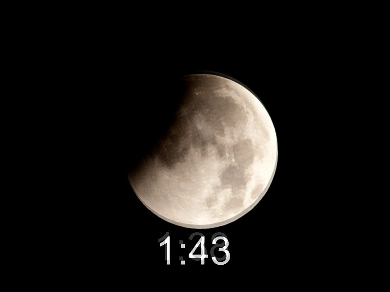 This slideshow was made from a seriew of images taken during the lunar eclipse Dec. 21, 2010 with a Canon 5D using a 100-400mm lens @ 365.  Peak was reported to occur at 3:17 here - Washington DC area.