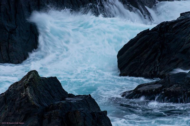 Sea whitewater II - breakers washing into Skjerpingan sound, Nyksund