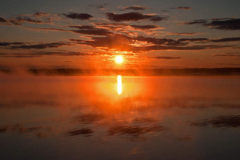 Sunrise, through the mist,  from Long Island Point on Astotin Lake