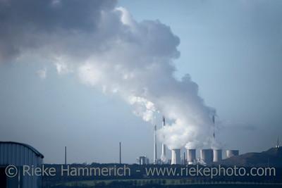 Cooling Towers emitting Steam - Recklinghausen, North Rhine-Westphalia, Germany