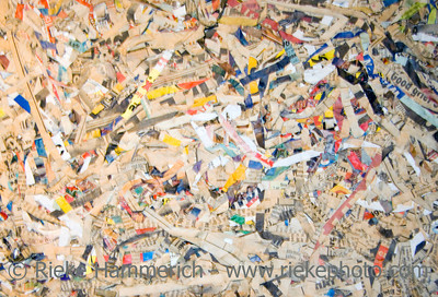 unsorted scrap of paper - for recycling and production of new paper