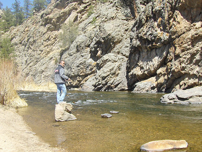 2008 - view from Estes Park area - Big Thompson River views - someone is fishing - thought it was a nice pic