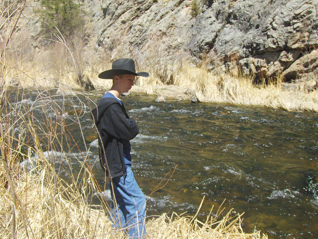 2008 - view from Estes Park area - Tony by Big Thompson River