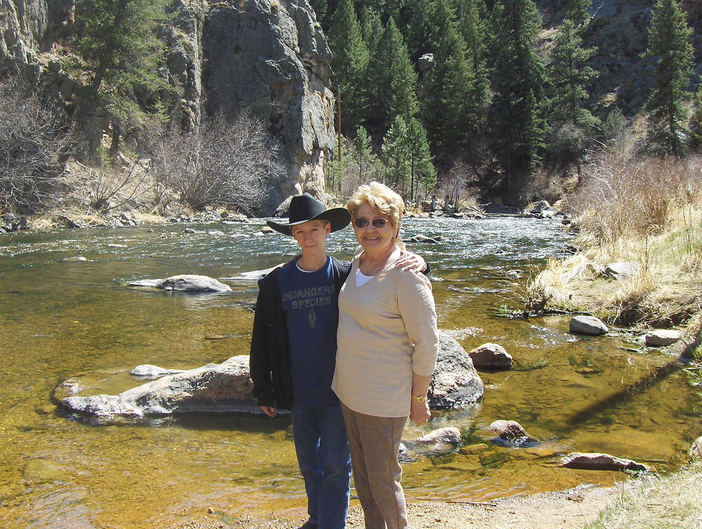 2008 - Tony and GMA at the Big Thompson River on Hwy 37 going towards Loveland from Estes Park