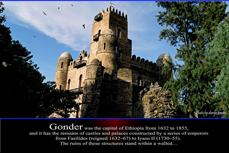 Gonder was the capital of Ethiopia from 1632 to 1855,<br /> and it has the remains of castles and palaces constructed by a series of emperors <br /> from Fasilides (reigned 1632–67) to Iyasu II (1730–55). <br /> The ruins of these structures stand within a walled…