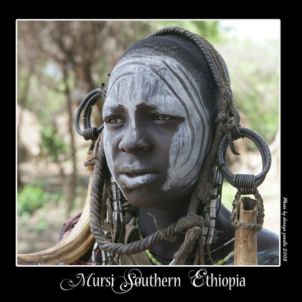 When a young Mursi girl reaches the age of 15 or 16, her lower lip is pierced so she can wear a lip plate. The larger the lip plate she can tolerate, the more cattle her bride price will bring for her father.
