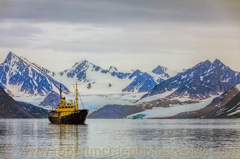 Our ship, the M/S Malmo in front of a Svalbard glacier near Smeereburg.