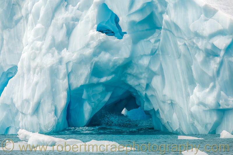 A close up view of an iceberg.  About an hour after this photo was taken this large iceberg broke up into small chunks of ice.
