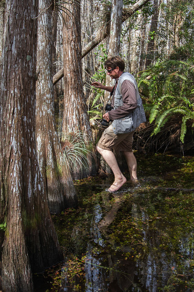 Garl's been guiding in the Everglades for 14 years among snakes, alligators, and crocodiles - never wears shoes!!