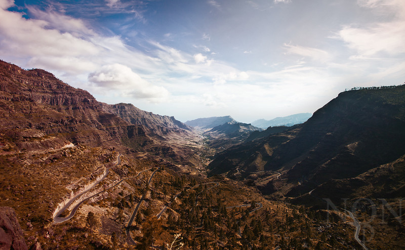 """""""Through the lens to Mogan""""  <i>- From a top view down the hills of Mogan country. It was an explicit trip by car on small curvy roads and steep hills. The weather was splendid and the early morning really set the adventure.</i>"""