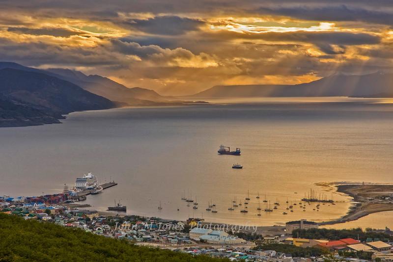 Ushuaia harbor at sunrise