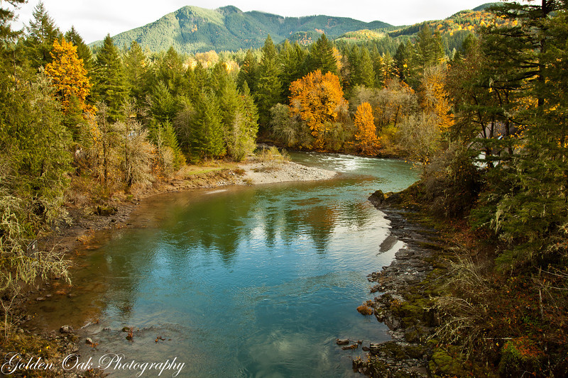 North Santiam above Mill city in Oregon Cascades provides a beautiful seasonal fall backdrop!