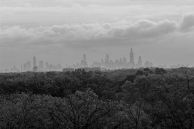 Chicago skyline from 20 miles away (as the crow flies)