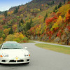 Sports car  and fall foliage on the Blue Ridge Parkway