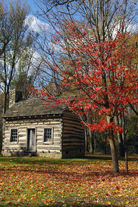 Historic Log Cabin in Fall