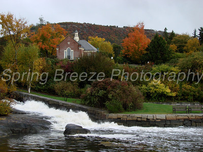 Megunticook river draining into the ocean in Camden harbor Maine Oct 2010