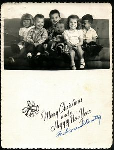 1954 Christmas Card:  Cathy, Art, Jerry, Bob, Teri, & Steve